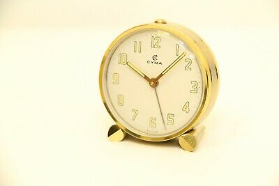 Vintage CYMA Alarm Table Clock Mechanic 11 Jewels Swiss Made RARE Collectible