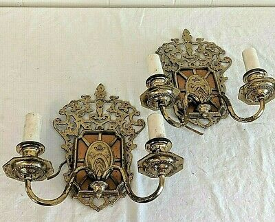Pair of 2 Vtg Antique Ornate Gothic Brass & Copper 2 Arm Wall Sconces Lights