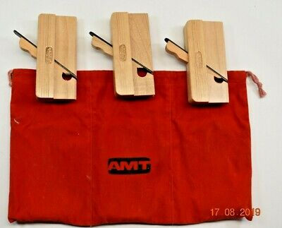 AMT Set 3 Miniature Amt Wood Planes, Flat, Round And Cove.In Original Cloth Case