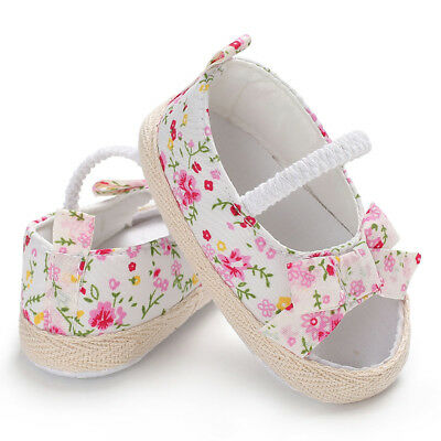 Sn_ Uk_ Summer Newborn Baby Girl Princess Floral Bowknot Canvas Shoes Sandals