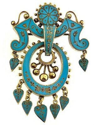 ANTIQUE Victorian 14k Gold Turquoise French Enameled Broach Pin SUPERB QUALITY!