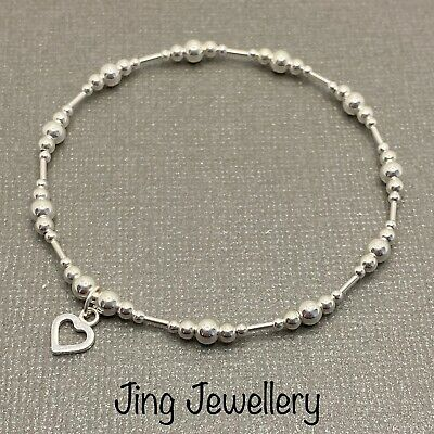 Sterling Silver Beaded Stretch Stacking Bracelet Open Heart Charm 925