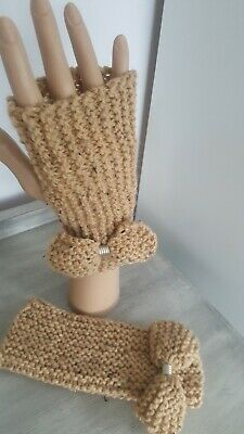 Fingerless Gloves Arm Warmers Hand Knitted Embellished With Hand Knitted Bow