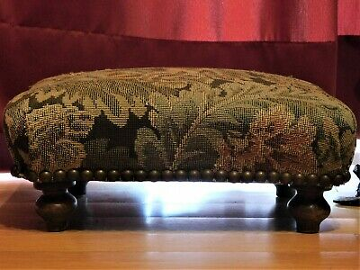19th C.ANTIQUE VICTORIAN FOOT STOOL WITH FLORAL TAPESTRY SMALL WOODEN STOOL