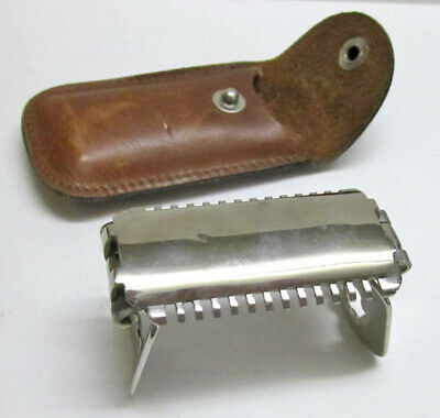 Vintage Folding B-P Shaver Safety Razor for D-E blades, leather pouch, 1921 pat.