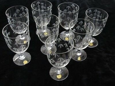 Vintage Craftsman Stemware Old Bamboo Crystal Etched Water Glasses New (Lot 8)