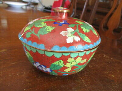Very Old Chinese Cloisonne Covered Floral Round Box
