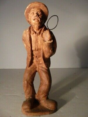 Antique Hand Carved Wood Figurine of Old Man with Hat Highly Detailed Folk Art