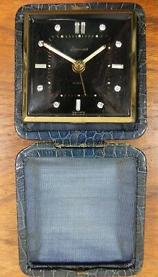 Vintage Landau Travel Alarm Clock Rhinestone Hour Markers+Glow Hands+dot GERMANY