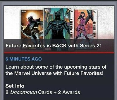 Topps Marvel Collect Card Trader Future Favorites Set + 48 hour Award Series 2