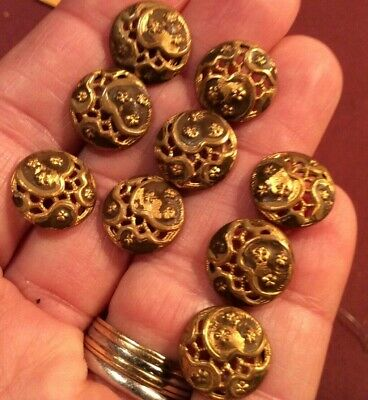 Lot 10 Antique Victorian Openwork Brass Hand Painted  Buttons