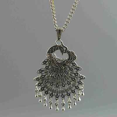 China Collectable Handwork Old Miao Silver Carve Vivid Peacock Usable Necklace
