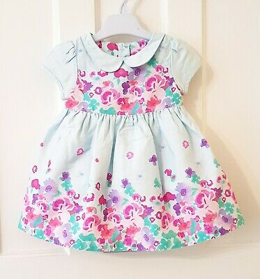 Baby Girls Clothes 3-6 Months Marks & Spencer's M&S Floral Turquoise Party Dress