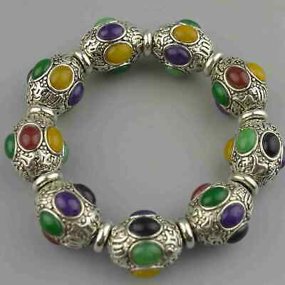 Collectable Handwork Miao Silver Carve Flower Inlay Agate Colour Noble Bracelet