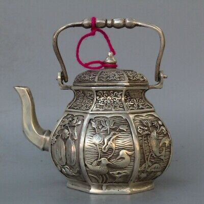 China Collectable Handwork Miao Silver Carve Vivid Goldfish Flower Lucky Tea Pot