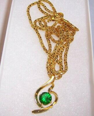 "Nice Green Crystal Pendant w/ Gold Plated 23""  Chain.  Free Ship USA"