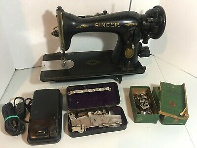 Vintage Singer Model 15-91 Sewing Machine (1952) Foot Pedal Manual Extras Works