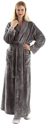 Dressing Gown Women Full Length Robe Plus Size Fleece Winter Warm Bathrobe