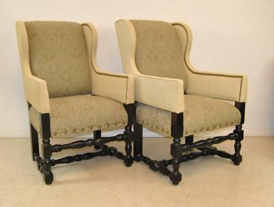 Pair Of William And Mary Style Wingback Upholstered Arm Chairs by Lee Industries