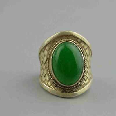 Collectable Handwork Decor Old Miao Silver Carve Flower Inlay Jade Usable Ring