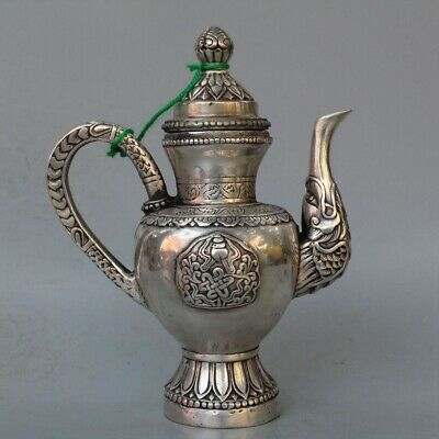 Ancient Collectable Handwork Miao Silver Carve Flower Dragon Mouth Lucky Tea Pot