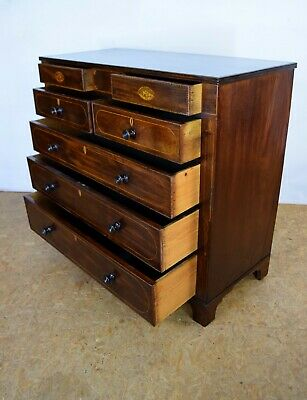 1820's Mahogany Chest Of Drawers, Antique Regency Chest, Bedroom Furniture