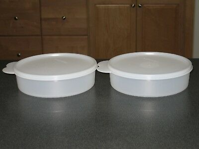 2 Tupperware Sheer Big Wonder Cereal Snack Soup Bowls Containers & Seals 1405
