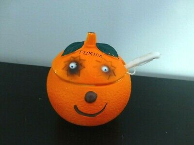 Vintage Florida Orange Souvenir Sugar Bowl With Spoon & Lid Googly Eyes