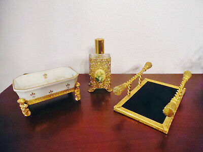 Vintage 3 Pc.ormolu Perfume Bottle-Soap Dish-Towel Or Perfume Tray