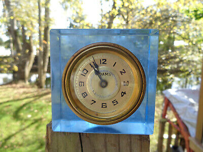 ANTIQUE VINTAGE Clock ALARM ESTATE WATERBURY ADAMS BLUE GLASS AS-IS PARTS WIND