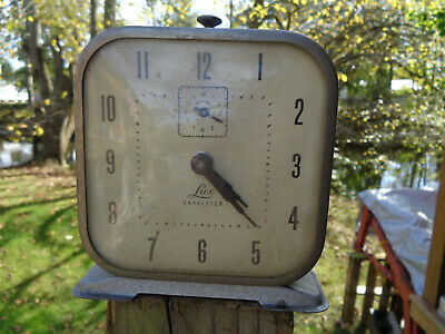 ANTIQUE VINTAGE Clock ALARM PARTS AS-IS ESTATE LUX HARVESTER GUNMETAL FINISH