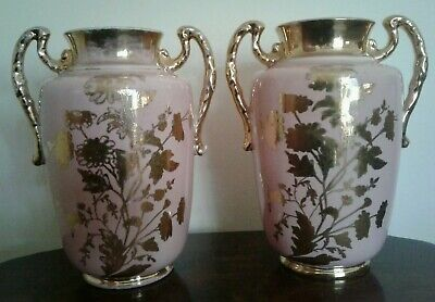 Stunning  Pair Of Antique Pink Gilded Flowers Art Nouveau China Large  Vases
