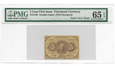 5 Cents Fractional Currency First Issue Pmg Gem Uncirculated 65 Epq Fr-1230