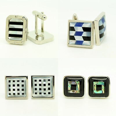 Silver Black Blue Cufflinks Mother of Pearl Square and Rectangular Wedding