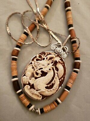 Large Chinese Wire Wrapped 950 Sterling Silver Carved Carneilian Dragon Necklace