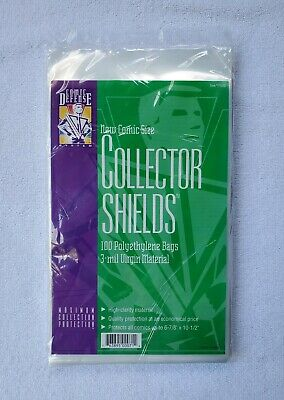 """Comic Defense SILVER 3-Mil COLLECTOR SHIELDS Bags 200 7-1//8/"""" x 10-1//2/"""""""