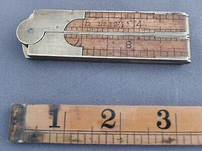 "Vintage Upson Nut Co. folding brass and boxwood 12"" No. 32-1/2 ruler & caliper"