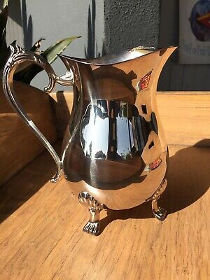 "LEONARD Silverplate Footed Water Pitcher w/ Ice Lip 8 3/8"" Vintage, On Orig Box"
