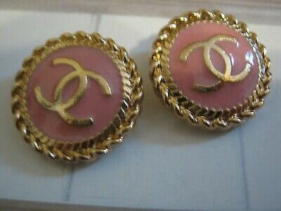 CHANEL  2 CC  LOGO PINK, MATTE GOLD  18mm BUTTONS THIS IS FOR TWO