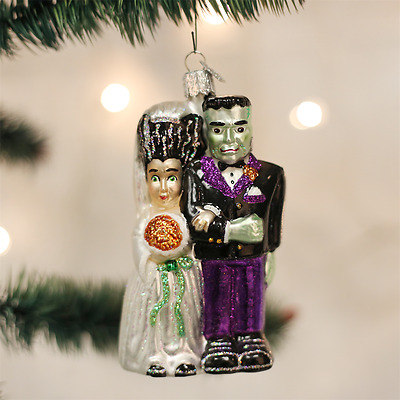 Old World Christmas Frankenstein & Bride Glass Halloween Ornament 26065