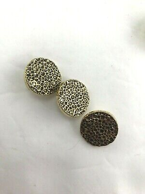 Vintage lot of 3 textured gold with black shank buttons sewing craft scrapbook