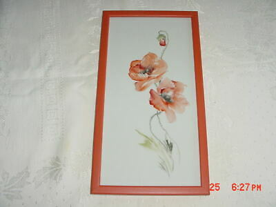 Artist Painted Tile In Wall Frame-   Orange Red  Poppies     Flowers