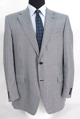 Recent Canali Italy 2Btn Silk Wool Blend Sport Coat Black White Check 46L