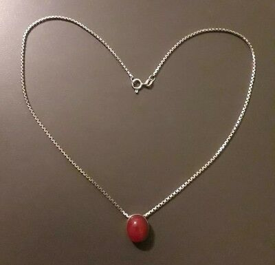 Beautiful Old 925er Sterling Silver Chain with Red Stone (j3)