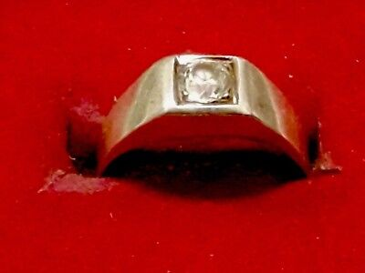 Pretty Antique 925er Sterling Silver Ring with White Stone (j2)