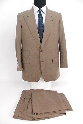 Domenico Spano Bergdorf Goodman 2Btn Bespoke Suit Peak Lapels Tan Brown 40R
