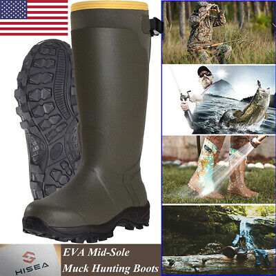 HISEA Men's Muck Hunting Work Boots Waterproof Breathable Rubber Snow Rain Boots