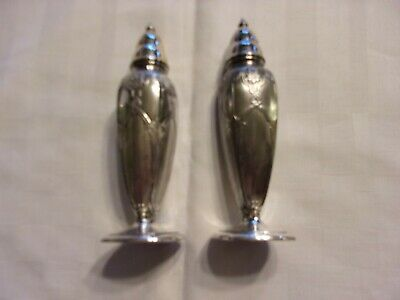 Vintage pair of Poole Silver Co. silver plate salt and pepper shakers