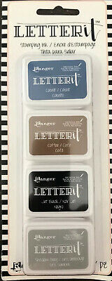4 x Ranger LetterIT Stamping Mini Ink Pads ~ Cobalt ~ Coffee ~ Jet Black ~ Grey