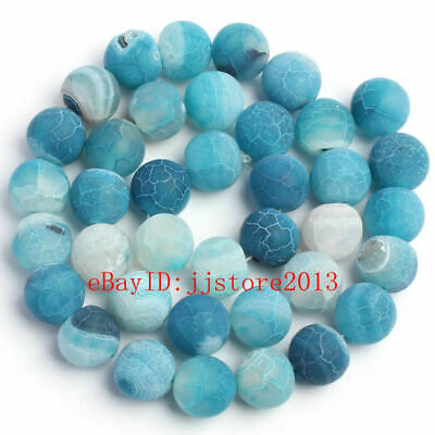 10mm Frosted Natural Cracked Blue Agate Round Shape Gems Loose Beads Strand 15""